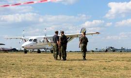 Vliegtuig op vliegveld in Kharkiv airshow Royalty-vrije Stock Foto