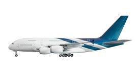 Vliegtuig op witte achtergrond met het knippen van weg wordt geïsoleerd die Stock Fotografie