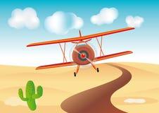 Vliegtuig op woestijn Stock Foto's