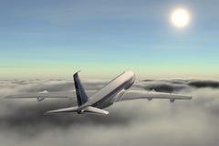 Vliegtuig op wolk stock illustratie