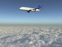 Vliegtuig over 3d wolken Stock Foto