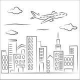Vliegtuig over de stad Royalty-vrije Illustratie