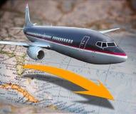 Vliegtuig over kaart Royalty-vrije Stock Foto's