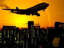 Vliegtuig over stadsblokken royalty-vrije illustratie