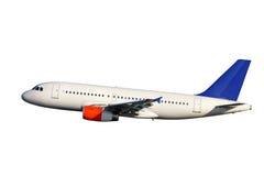 Vliegtuig over wit Royalty-vrije Stock Afbeelding