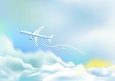 Vliegtuig over wolken Stock Foto