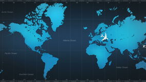 Vliegtuig rond wereldkaart reis 1 vector illustratie