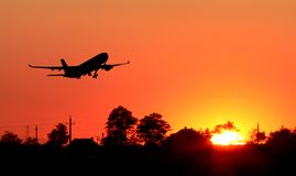 vliegtuig silhouet royalty-vrije stock afbeeldingen