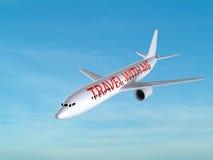 Vliegtuig tegen blauwe hemel royalty-vrije illustratie