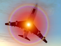 Vliegtuig tijdens de vlucht 3 vector illustratie
