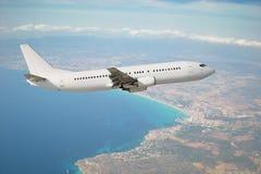 Vliegtuig tijdens de vlucht Royalty-vrije Stock Afbeelding