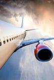 Vliegtuig tijdens de vlucht Royalty-vrije Stock Foto