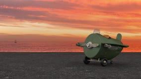 Vliegtuig van de beeldverhaal Retro Vechter vector illustratie