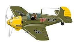 Vliegtuig van de beeldverhaal Retro Vechter stock illustratie