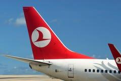 Vliegtuig van Turkse luchtvaartlijn. Blauwe hemel Royalty-vrije Stock Foto