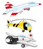 Vliegtuig, vechter en helikopter vector illustratie