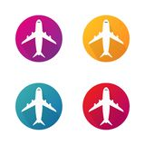 Vliegtuig vectorpictogrammen in cirkel Vliegtuigen om vectorknopen voor website Vectoreps 10 royalty-vrije illustratie