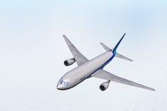 Vliegtuig in vlieg boven een overzees stock illustratie