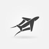 Vliegtuig of vliegtuig vectorpictogram Royalty-vrije Stock Afbeeldingen