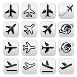 Vliegtuig, vlucht, geplaatste luchthavenpictogrammen Royalty-vrije Stock Foto's
