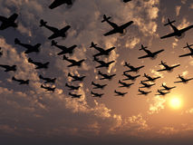 Vliegtuig in zonsondergang Royalty-vrije Stock Foto's