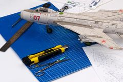 Vliegtuigclose-up modellering royalty-vrije stock afbeeldingen