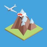 Vliegtuigen in bergen met parachutist Stock Afbeelding