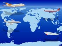 Vliegtuigen boven de Aarde Royalty-vrije Stock Afbeeldingen