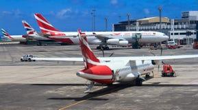 Vliegtuigen in de luchthaven van Mauritius Stock Afbeeldingen