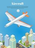 Vliegtuigen die over de Banner van het Stadsweb vliegen Vector royalty-vrije illustratie