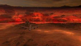Vliegtuigen die over Rood terrein bij schemer vliegen stock videobeelden