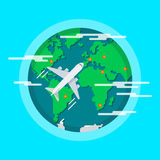 Vliegtuigen die rond de wereld vliegen Royalty-vrije Illustratie