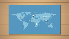 Vliegtuigen die volgens routes rond wereld vliegen stock illustratie