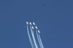 Vliegtuigen en havik stock afbeeldingen