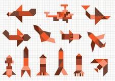 Vliegtuigen en raketten Stock Afbeeldingen