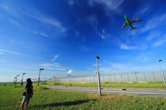 Vliegtuigen in hemel Royalty-vrije Stock Fotografie