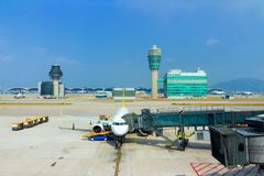 Vliegtuigen in Hong Kong International Airport royalty-vrije stock foto