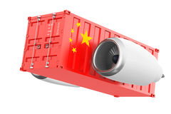 Vliegtuigen Jet Engine met de Vlag Verschepende Container van China 3D rende Royalty-vrije Stock Foto's