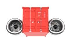 Vliegtuigen Jet Engine met Verschepende Container het 3d teruggeven Stock Fotografie