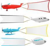 Vliegtuigen met banners Stock Afbeeldingen