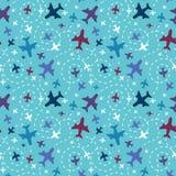 Vliegtuigen op de achtergrond van het hemel naadloze patroon Royalty-vrije Stock Afbeelding