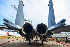 Vliegtuigen op vertoning in Changi, Singapore stock fotografie
