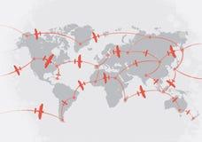 Vliegtuigen op wereldkaart Royalty-vrije Stock Fotografie