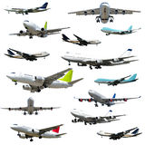 Vliegtuigen op witte achtergrond Stock Afbeelding