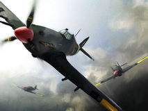 Vliegtuigen (Orkaan) tijdens de vlucht. royalty-vrije stock afbeelding