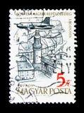 Vliegtuigen over Sopron, 40ste Verjaardag van Hongaarse Airpost Stam Royalty-vrije Stock Fotografie