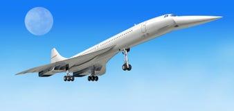Vliegtuigen van het Concorde de supersonische lijnvliegtuig, tijdens start.