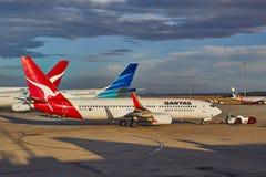 Vliegtuigen van Qantas Stock Afbeeldingen