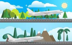 Vliegtuigen in verschillende landen Vlak Ontwerp Stock Afbeelding