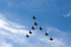 Vliegtuigen in vorming Royalty-vrije Stock Afbeelding
